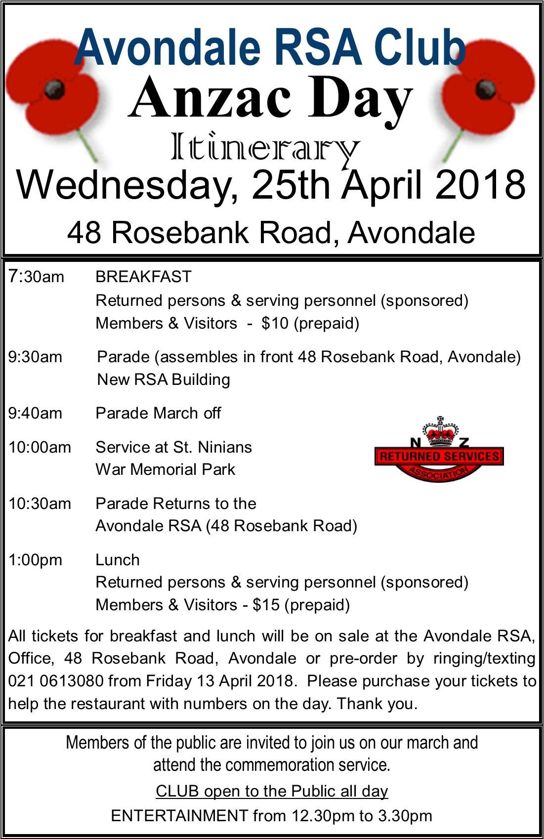 Avondale RSA Anzac Day 2018